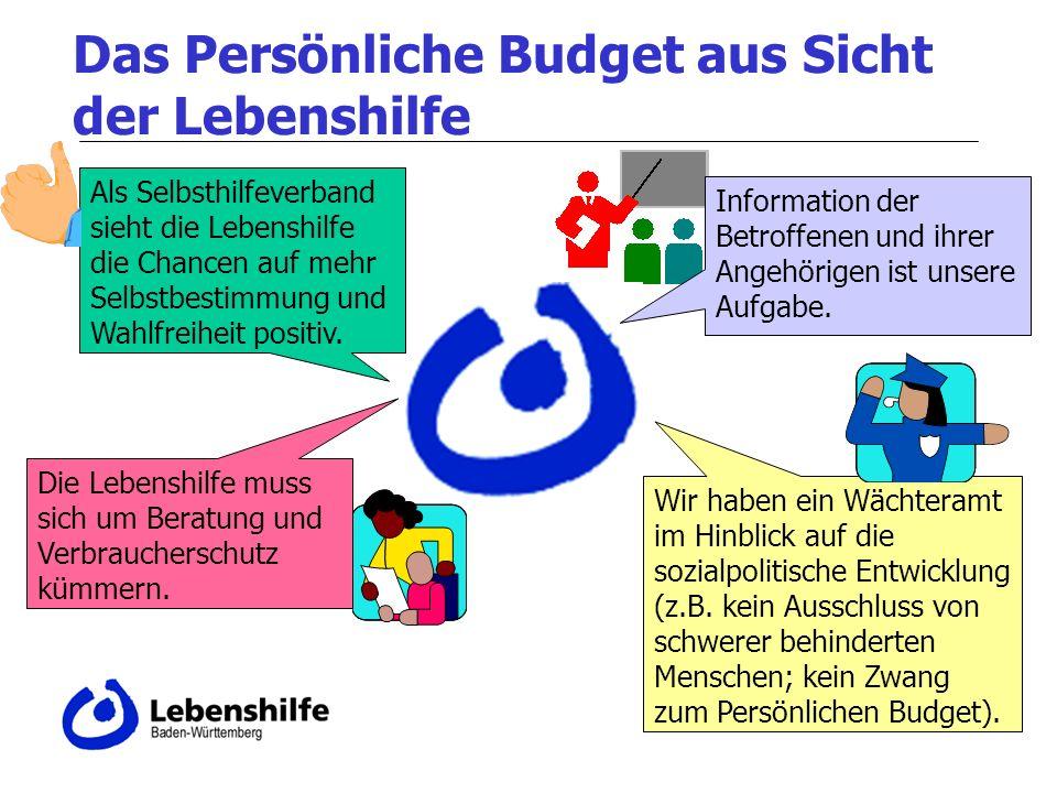 Das Persönliche Budget aus Sicht der Lebenshilfe Als Selbsthilfeverband sieht die Lebenshilfe die Chancen auf mehr Selbstbestimmung und Wahlfreiheit positiv.