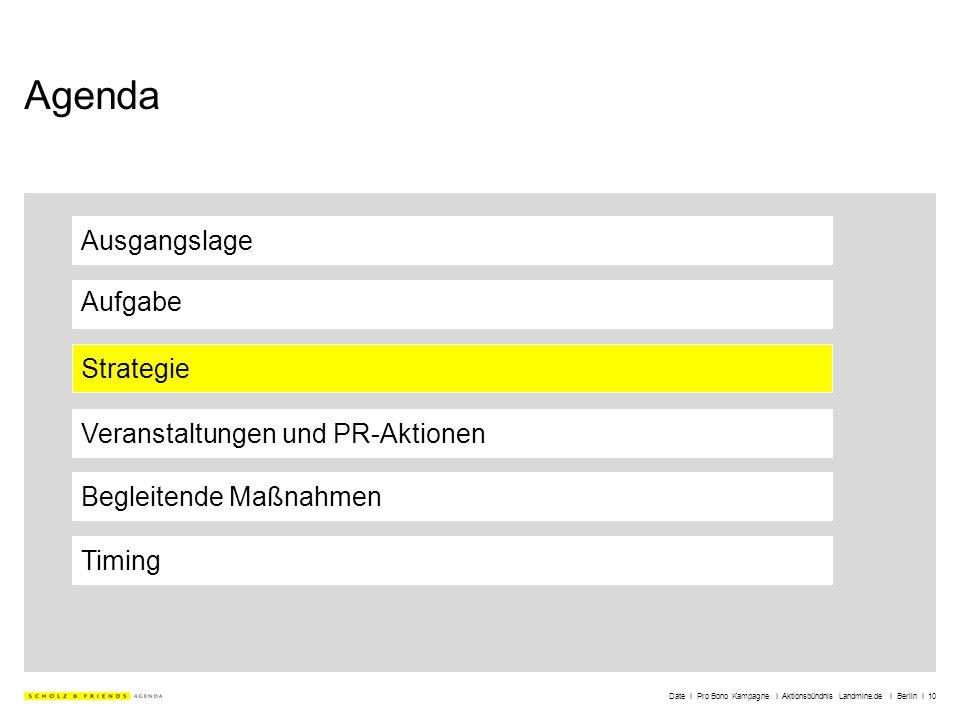 Date I Pro Bono Kampagne I Aktionsbündnis Landmine.de I Berlin I 10 Agenda Ausgangslage Aufgabe Strategie Veranstaltungen und PR-Aktionen Timing Begle
