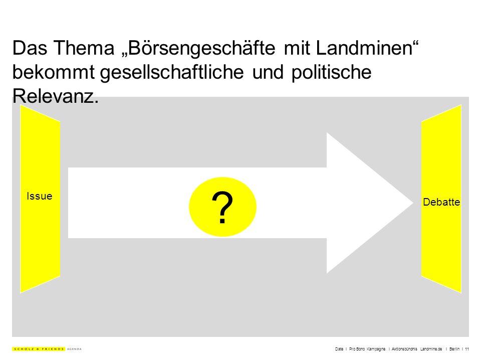 Date I Pro Bono Kampagne I Aktionsbündnis Landmine.de I Berlin I 11 Das Thema Börsengeschäfte mit Landminen bekommt gesellschaftliche und politische R