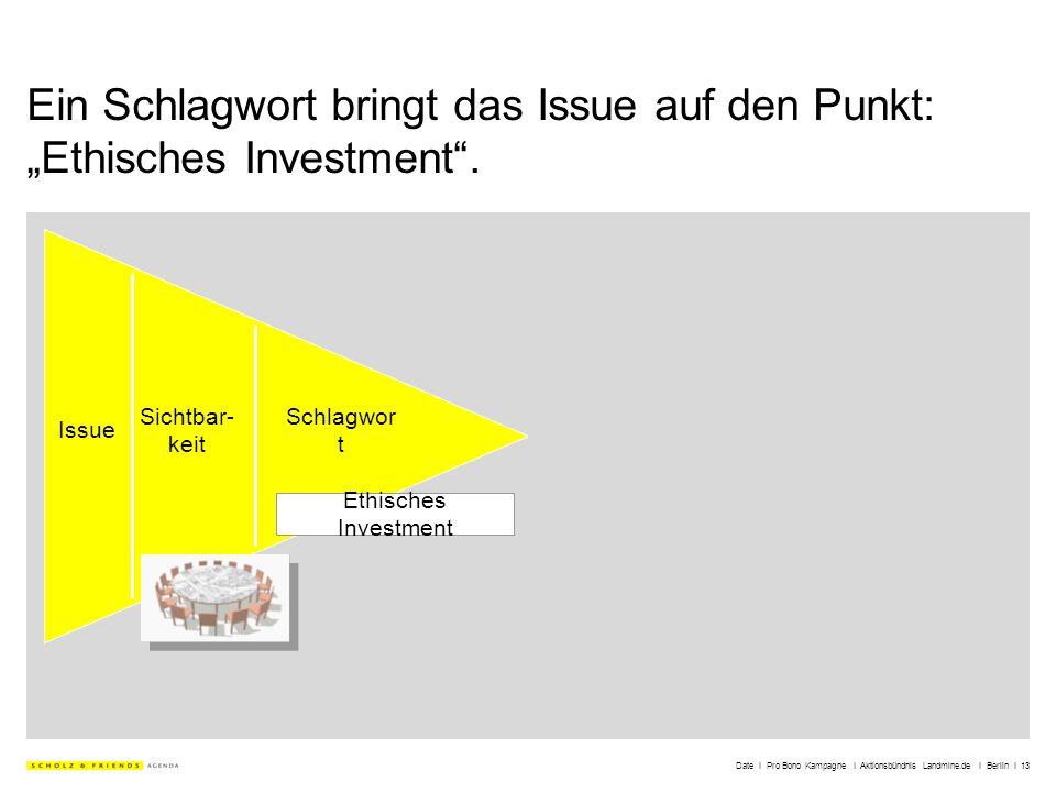 Date I Pro Bono Kampagne I Aktionsbündnis Landmine.de I Berlin I 13 Ein Schlagwort bringt das Issue auf den Punkt: Ethisches Investment. Ethisches Inv