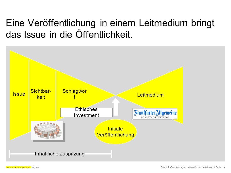 Date I Pro Bono Kampagne I Aktionsbündnis Landmine.de I Berlin I 14 Eine Veröffentlichung in einem Leitmedium bringt das Issue in die Öffentlichkeit.