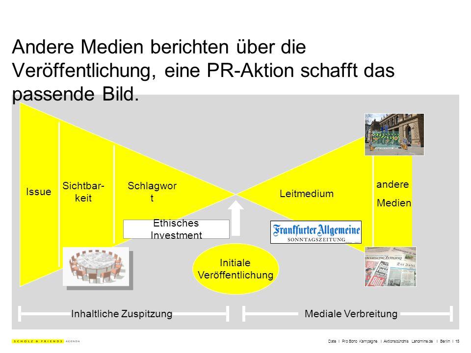 Date I Pro Bono Kampagne I Aktionsbündnis Landmine.de I Berlin I 15 Andere Medien berichten über die Veröffentlichung, eine PR-Aktion schafft das pass