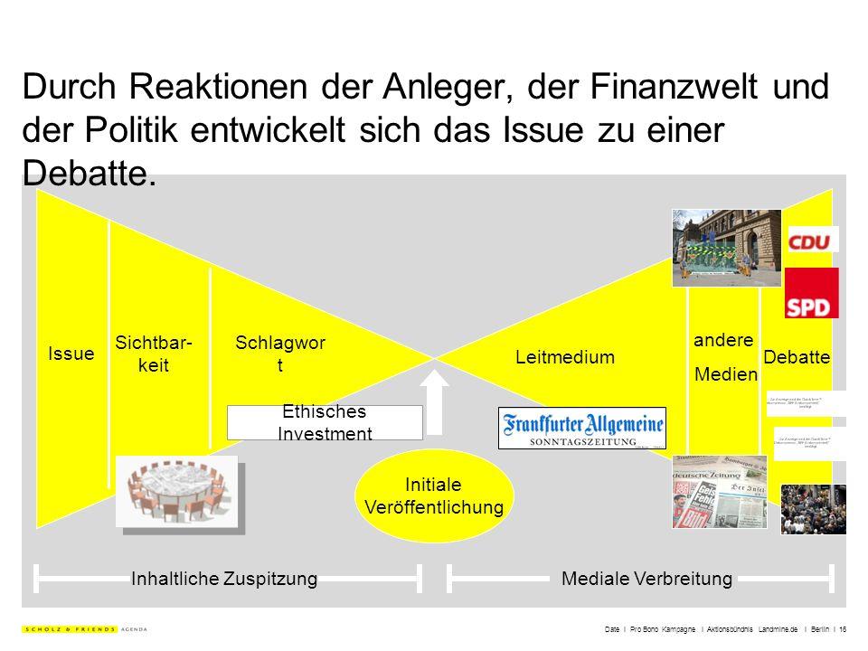 Date I Pro Bono Kampagne I Aktionsbündnis Landmine.de I Berlin I 16 Durch Reaktionen der Anleger, der Finanzwelt und der Politik entwickelt sich das I