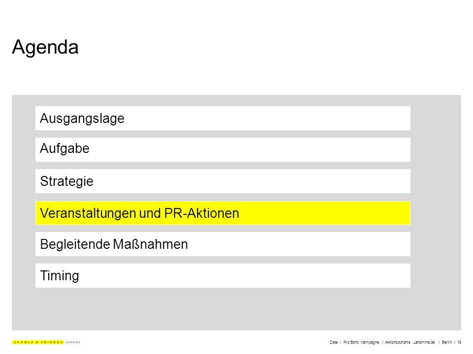 Date I Pro Bono Kampagne I Aktionsbündnis Landmine.de I Berlin I 18 Agenda Ausgangslage Aufgabe Strategie Veranstaltungen und PR-Aktionen Timing Begle