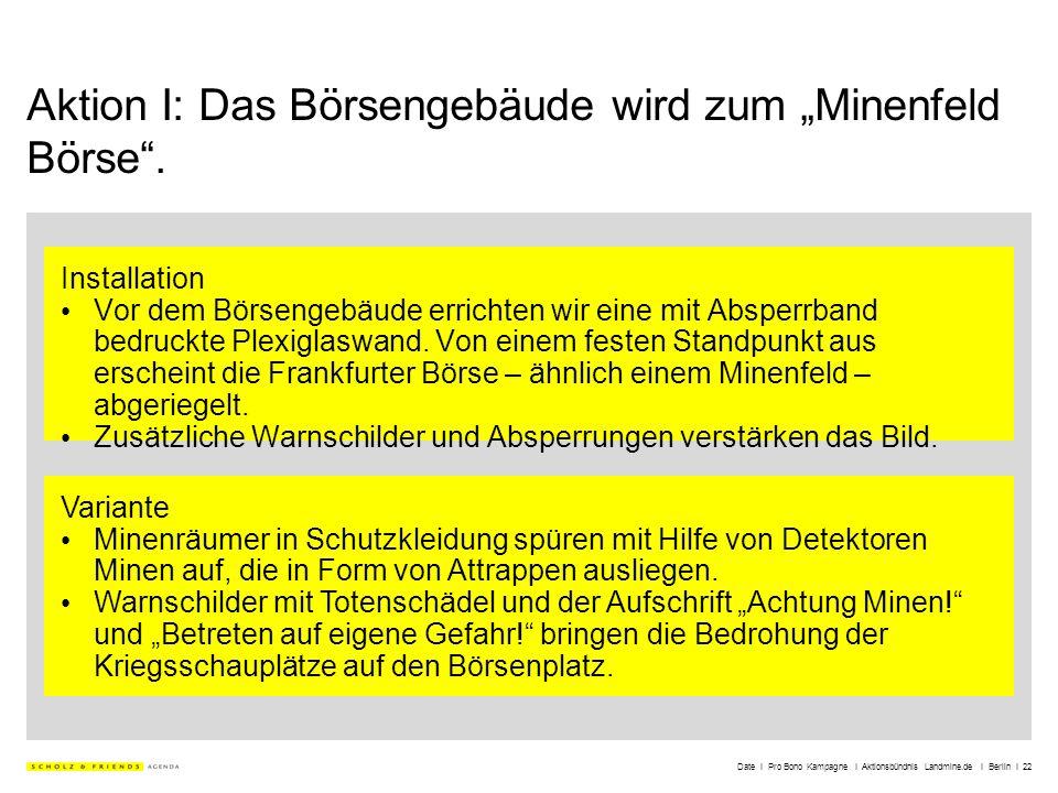 Date I Pro Bono Kampagne I Aktionsbündnis Landmine.de I Berlin I 22 Aktion I: Das Börsengebäude wird zum Minenfeld Börse. Installation Vor dem Börseng