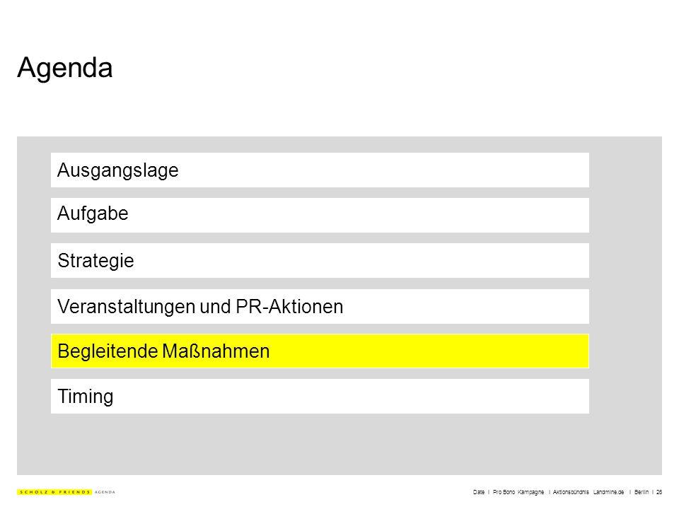 Date I Pro Bono Kampagne I Aktionsbündnis Landmine.de I Berlin I 26 Agenda Ausgangslage Aufgabe Strategie Veranstaltungen und PR-Aktionen Timing Begle