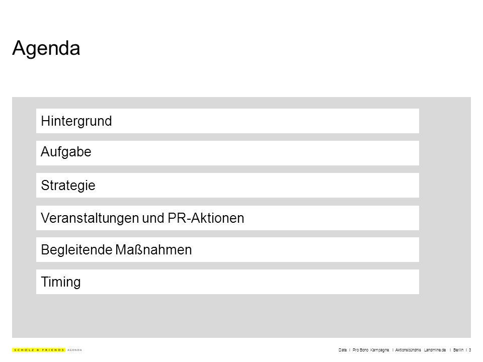 Date I Pro Bono Kampagne I Aktionsbündnis Landmine.de I Berlin I 3 Agenda Hintergrund Aufgabe Strategie Veranstaltungen und PR-Aktionen Timing Begleit