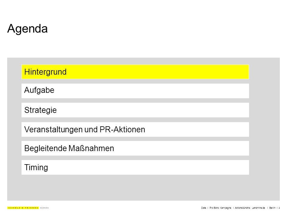 Date I Pro Bono Kampagne I Aktionsbündnis Landmine.de I Berlin I 4 Agenda Hintergrund Aufgabe Strategie Veranstaltungen und PR-Aktionen Timing Begleit