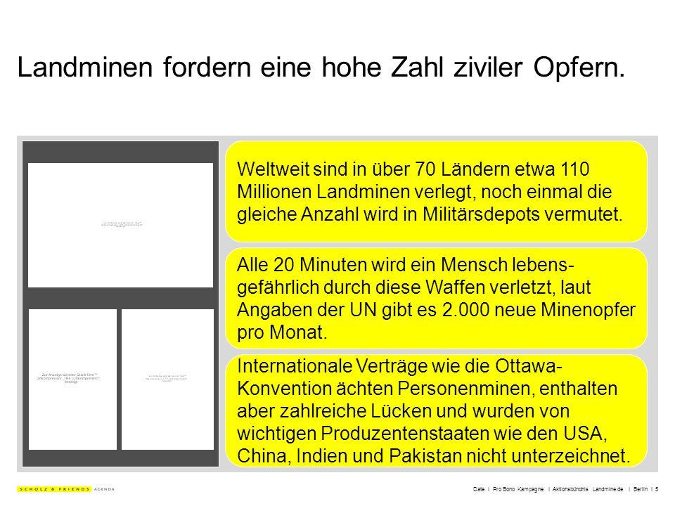 Date I Pro Bono Kampagne I Aktionsbündnis Landmine.de I Berlin I 5 Landminen fordern eine hohe Zahl ziviler Opfern. Weltweit sind in über 70 Ländern e