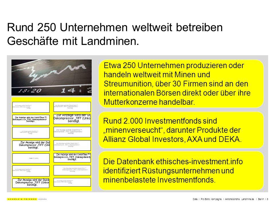 Date I Pro Bono Kampagne I Aktionsbündnis Landmine.de I Berlin I 6 Rund 250 Unternehmen weltweit betreiben Geschäfte mit Landminen. Etwa 250 Unternehm
