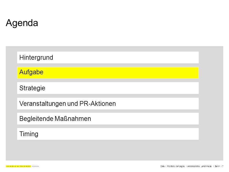 Date I Pro Bono Kampagne I Aktionsbündnis Landmine.de I Berlin I 7 Agenda Hintergrund Aufgabe Strategie Veranstaltungen und PR-Aktionen Timing Begleit