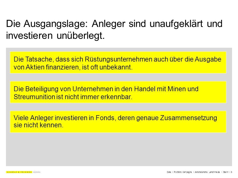 Date I Pro Bono Kampagne I Aktionsbündnis Landmine.de I Berlin I 8 Die Ausgangslage: Anleger sind unaufgeklärt und investieren unüberlegt. Viele Anleg