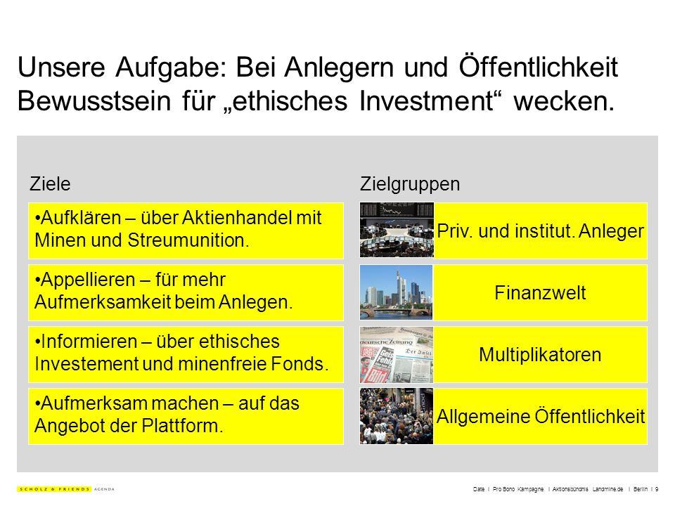 Date I Pro Bono Kampagne I Aktionsbündnis Landmine.de I Berlin I 9 Unsere Aufgabe: Bei Anlegern und Öffentlichkeit Bewusstsein für ethisches Investmen