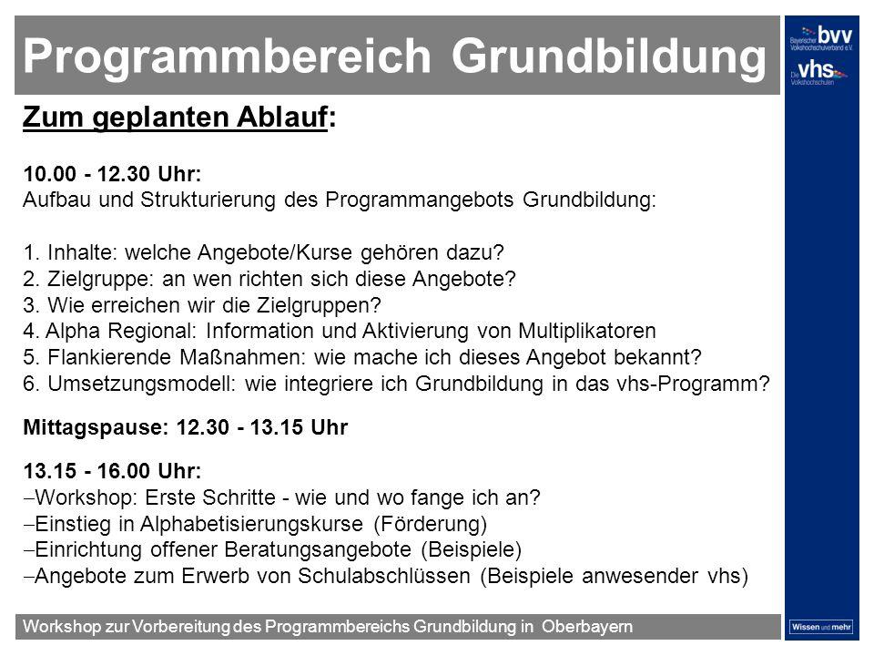 Programmbereich Grundbildung Zum geplanten Ablauf: 10.00 - 12.30 Uhr: Aufbau und Strukturierung des Programmangebots Grundbildung: 1. Inhalte: welche