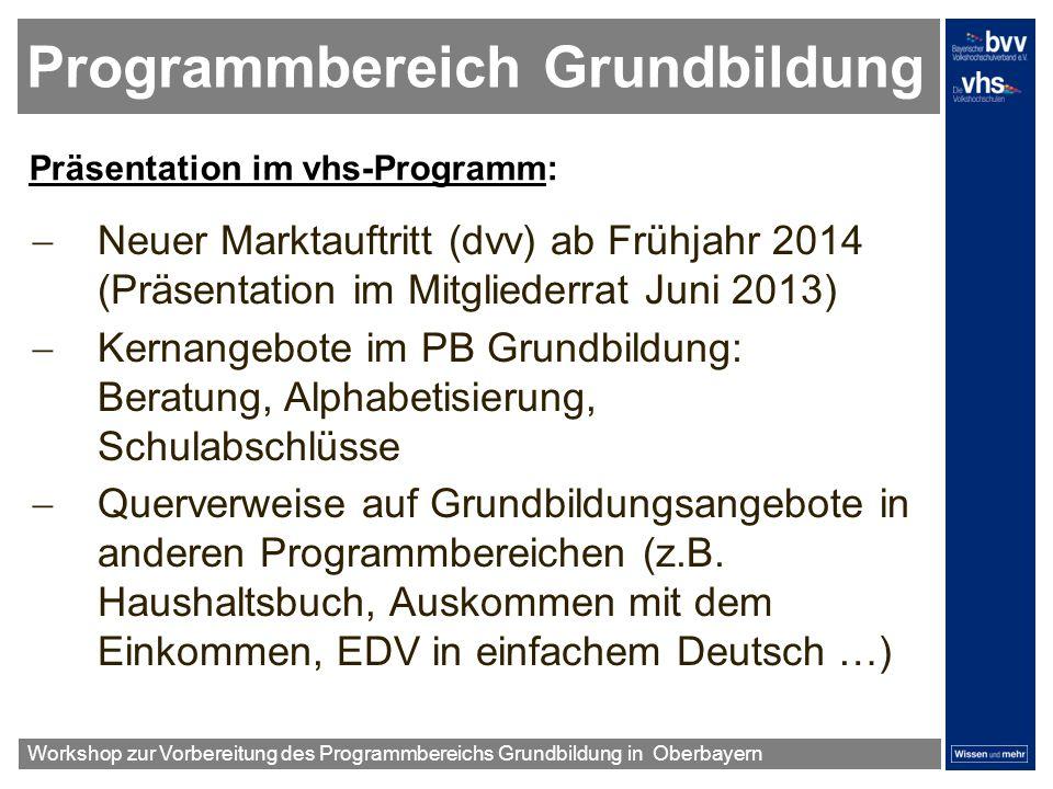 Programmbereich Grundbildung Präsentation im vhs-Programm: Neuer Marktauftritt (dvv) ab Frühjahr 2014 (Präsentation im Mitgliederrat Juni 2013) Kernan