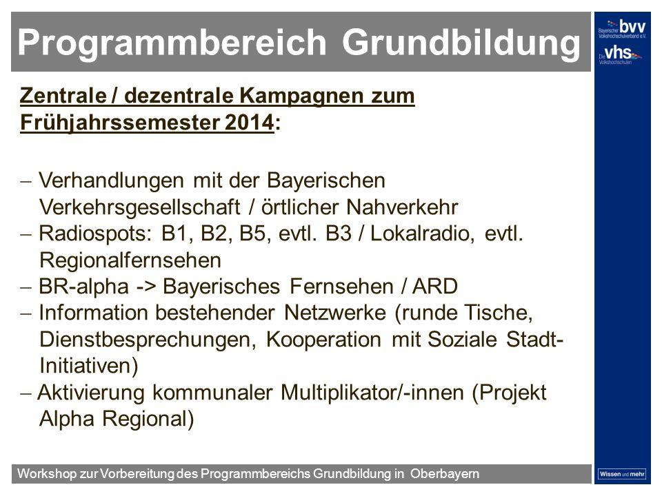 Programmbereich Grundbildung Zentrale / dezentrale Kampagnen zum Frühjahrssemester 2014: Verhandlungen mit der Bayerischen Verkehrsgesellschaft / örtl
