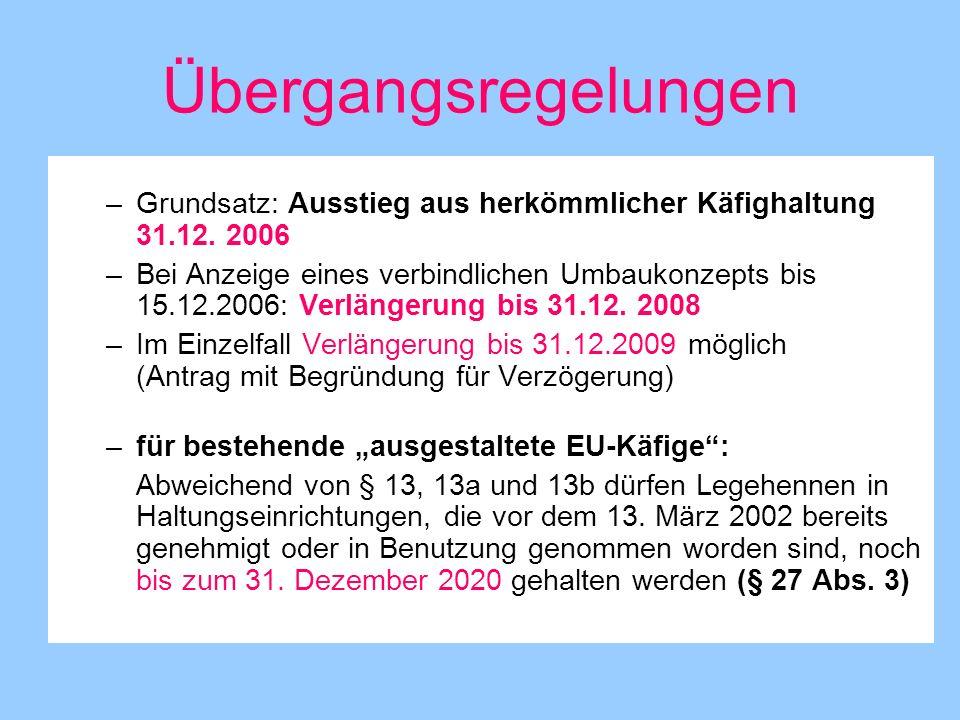Übergangsregelungen –Grundsatz: Ausstieg aus herkömmlicher Käfighaltung 31.12. 2006 –Bei Anzeige eines verbindlichen Umbaukonzepts bis 15.12.2006: Ver