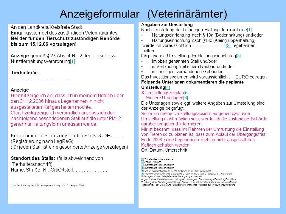 Anzeigeformular (Veterinärämter) An den Landkreis/Kreisfreie Stadt Eingangsstempel des zuständigen Veterinäramtes Bei der für den Tierschutz zuständig
