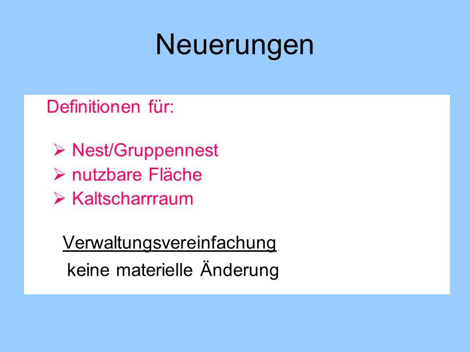 Neuerungen Definitionen für: Nest/Gruppennest nutzbare Fläche Kaltscharrraum Verwaltungsvereinfachung keine materielle Änderung