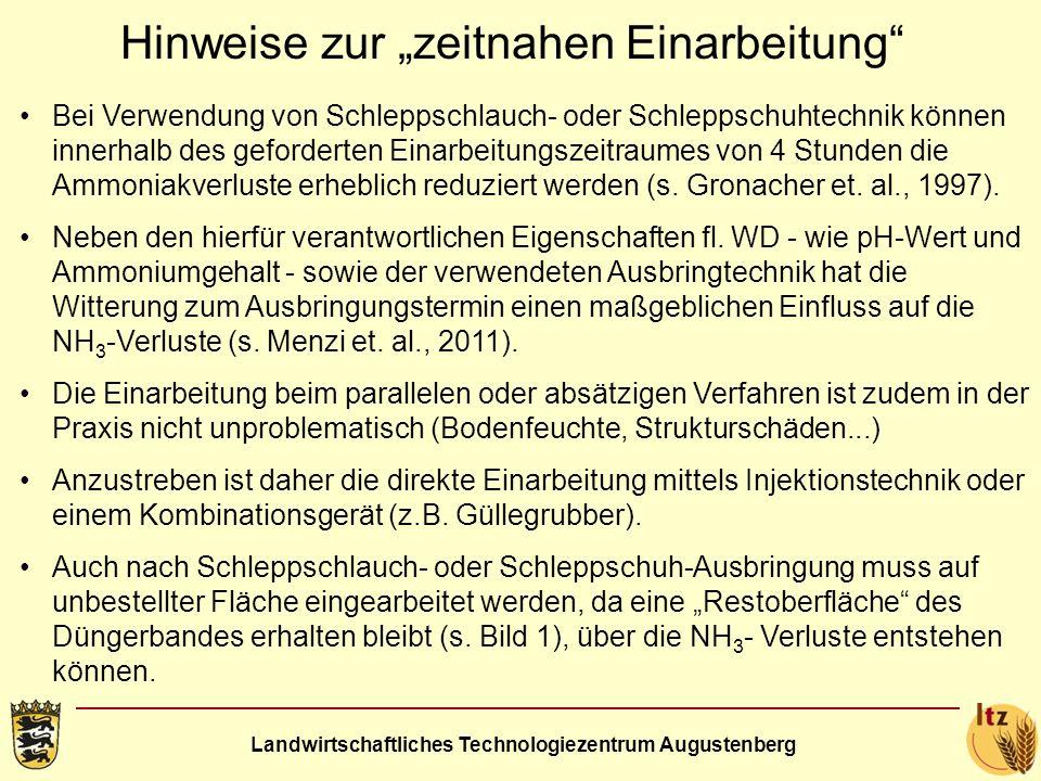 Landwirtschaftliches Technologiezentrum Augustenberg Hinweise zur zeitnahen Einarbeitung Bei Verwendung von Schleppschlauch- oder Schleppschuhtechnik