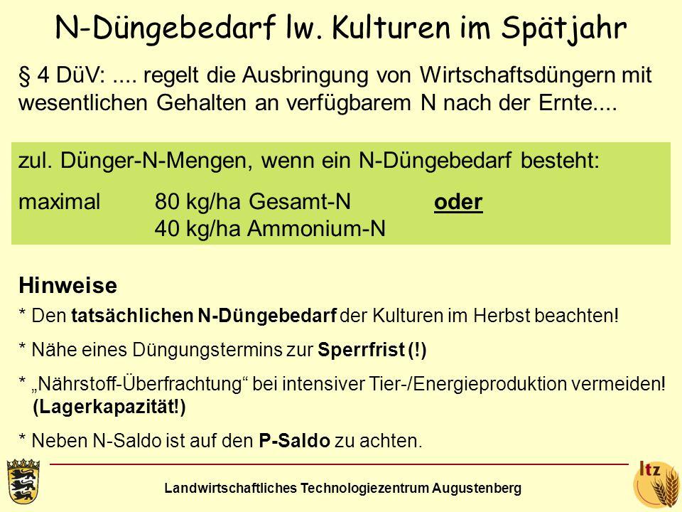 Landwirtschaftliches Technologiezentrum Augustenberg N-Düngebedarf lw. Kulturen im Spätjahr § 4 DüV:.... regelt die Ausbringung von Wirtschaftsdüngern
