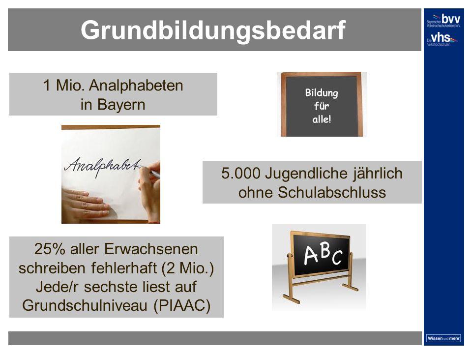 Grundbildungsbedarf 1 Mio. Analphabeten in Bayern 5.000 Jugendliche jährlich ohne Schulabschluss 25% aller Erwachsenen schreiben fehlerhaft (2 Mio.) J