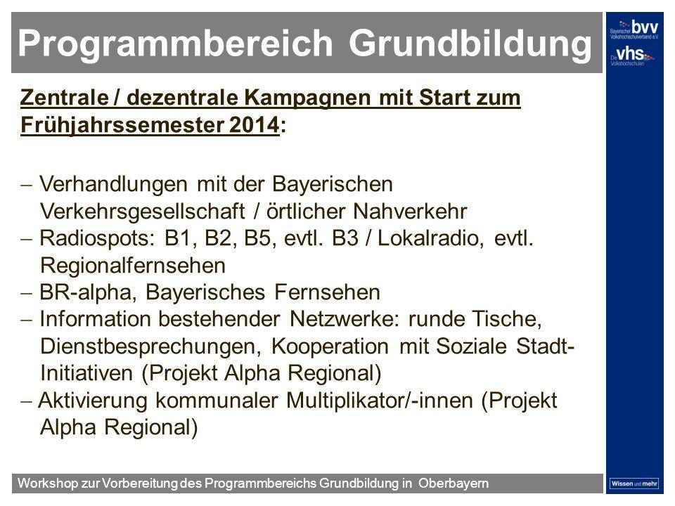 Programmbereich Grundbildung Zentrale / dezentrale Kampagnen mit Start zum Frühjahrssemester 2014: Verhandlungen mit der Bayerischen Verkehrsgesellschaft / örtlicher Nahverkehr Radiospots: B1, B2, B5, evtl.