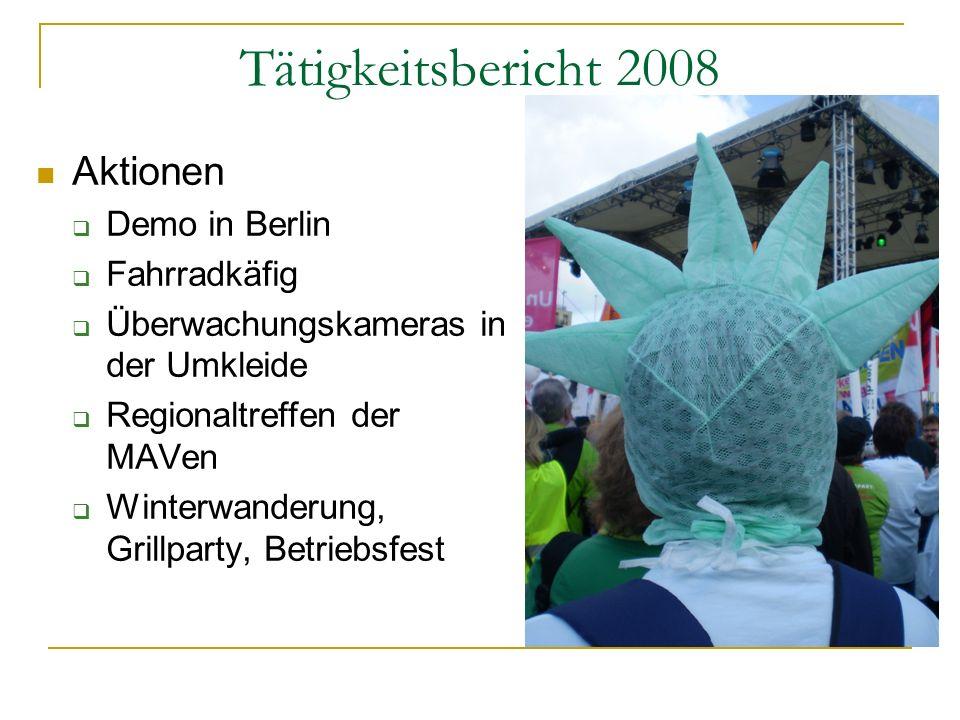 Tätigkeitsbericht 2008 Aktionen Demo in Berlin Fahrradkäfig Überwachungskameras in der Umkleide Regionaltreffen der MAVen Winterwanderung, Grillparty,