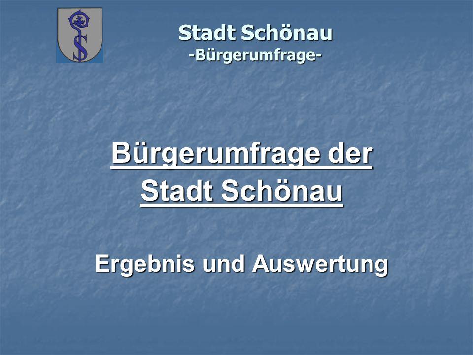 Stadt Schönau -Bürgerumfrage- Ergebnisanalyse Beteiligung 252 Fragebögen Dies entspricht bei 2000 ausgegebenen Fragebögen 12,60 % Altersstruktur der Ausfüller: