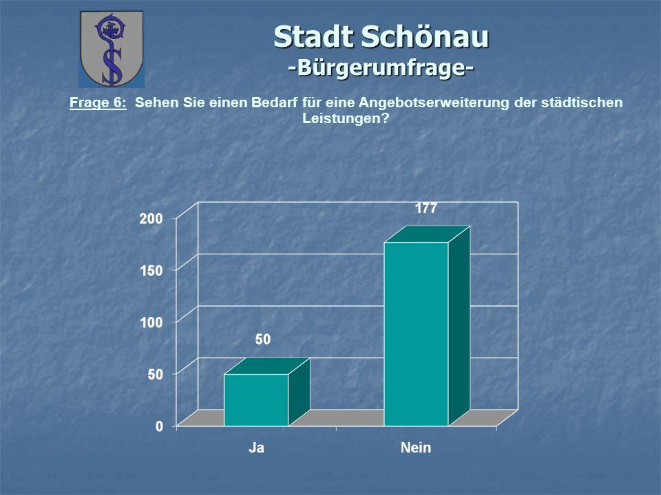 Stadt Schönau -Bürgerumfrage- Frage 6: Sehen Sie einen Bedarf für eine Angebotserweiterung der städtischen Leistungen