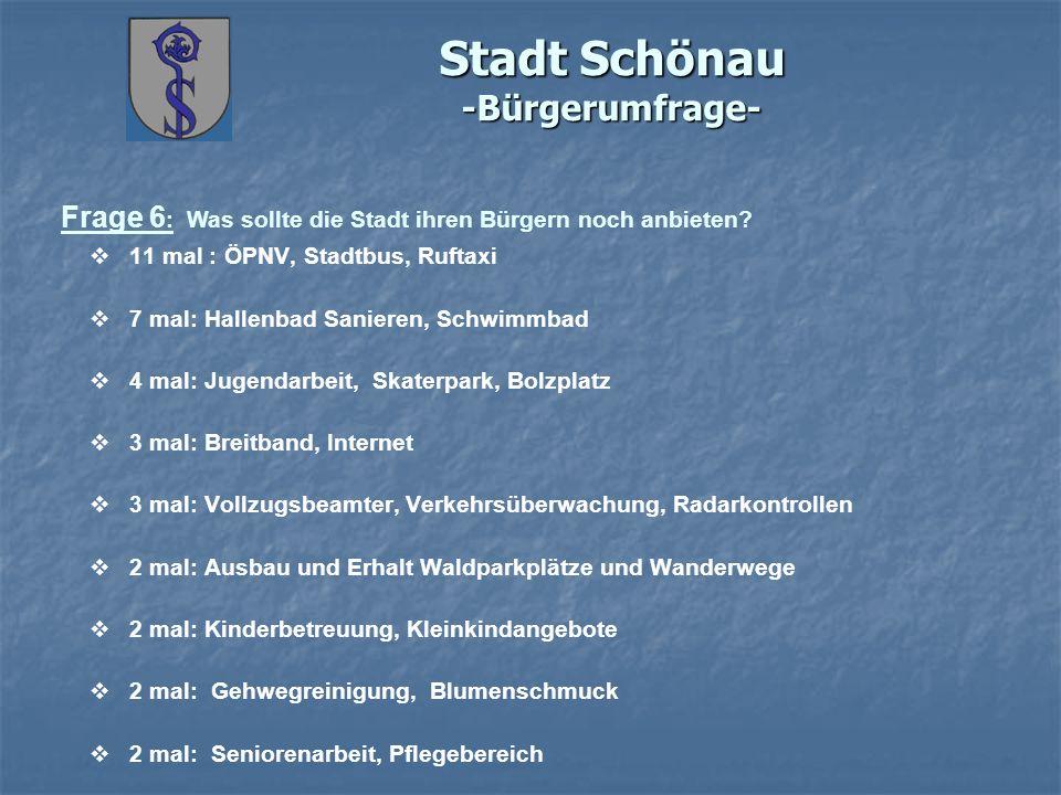 Stadt Schönau -Bürgerumfrage- Frage 6 : Was sollte die Stadt ihren Bürgern noch anbieten? 11 mal : ÖPNV, Stadtbus, Ruftaxi 7 mal: Hallenbad Sanieren,