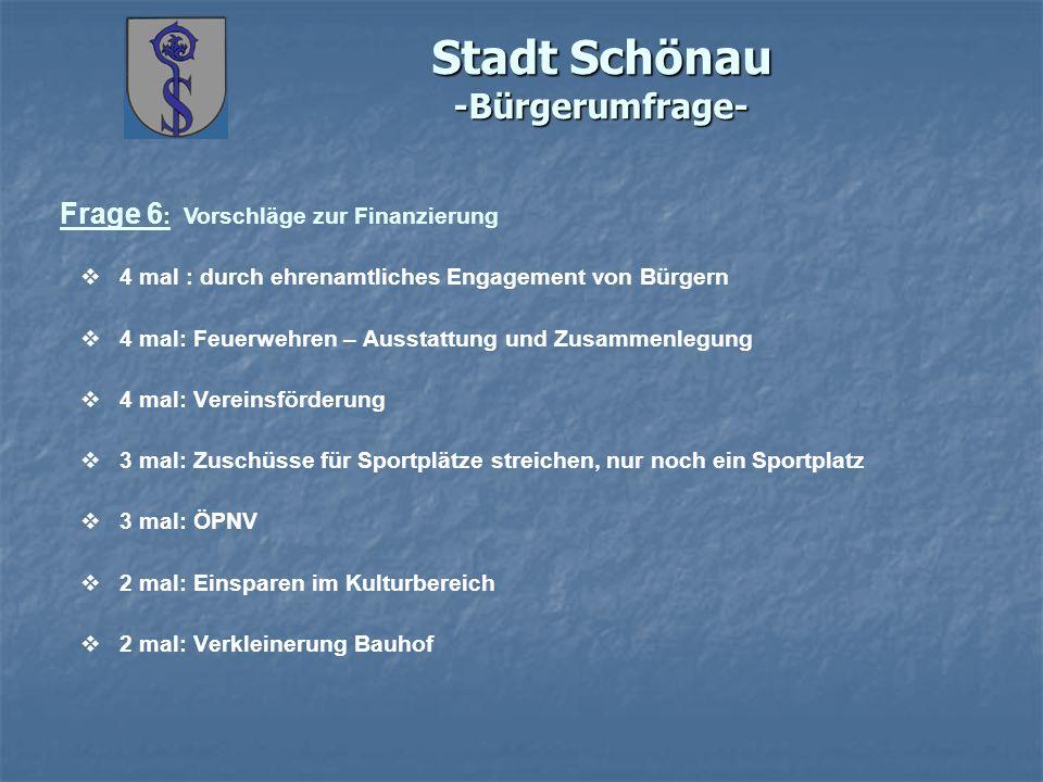 Stadt Schönau -Bürgerumfrage- Frage 6 : Vorschläge zur Finanzierung 4 mal : durch ehrenamtliches Engagement von Bürgern 4 mal: Feuerwehren – Ausstattu