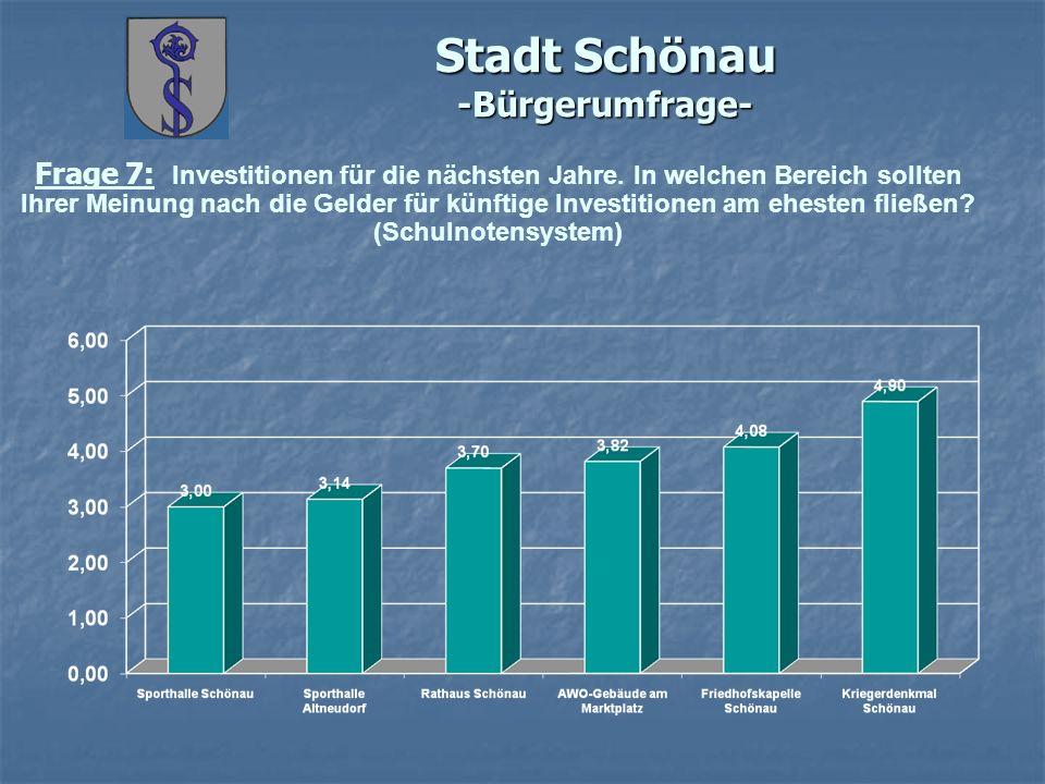 Stadt Schönau -Bürgerumfrage- Frage 7: Investitionen für die nächsten Jahre. In welchen Bereich sollten Ihrer Meinung nach die Gelder für künftige Inv