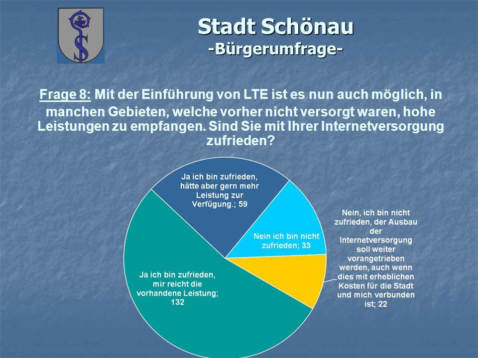 Stadt Schönau -Bürgerumfrage- Frage 8: Mit der Einführung von LTE ist es nun auch möglich, in manchen Gebieten, welche vorher nicht versorgt waren, hohe Leistungen zu empfangen.