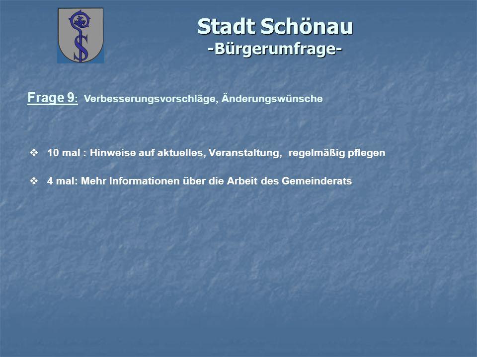 Stadt Schönau -Bürgerumfrage- Frage 9 : Verbesserungsvorschläge, Änderungswünsche 10 mal : Hinweise auf aktuelles, Veranstaltung, regelmäßig pflegen 4