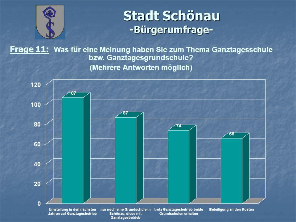 Stadt Schönau -Bürgerumfrage- Frage 11: Was für eine Meinung haben Sie zum Thema Ganztagesschule bzw.