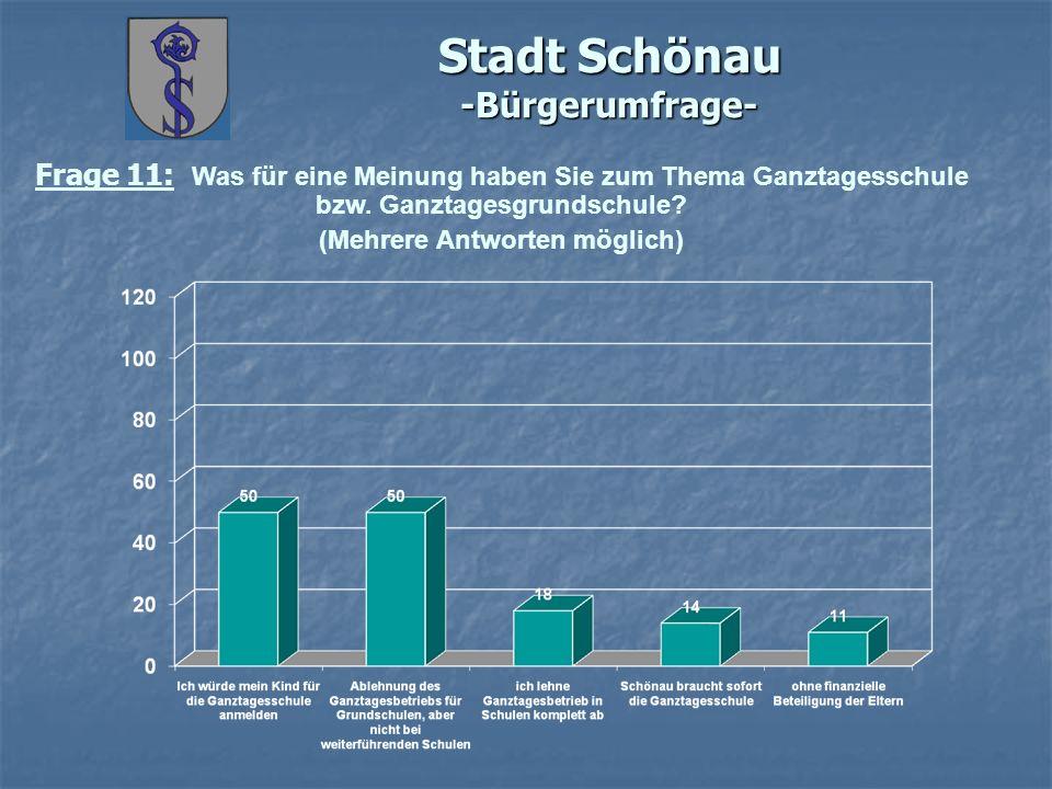 Stadt Schönau -Bürgerumfrage- Frage 11: Was für eine Meinung haben Sie zum Thema Ganztagesschule bzw. Ganztagesgrundschule? (Mehrere Antworten möglich
