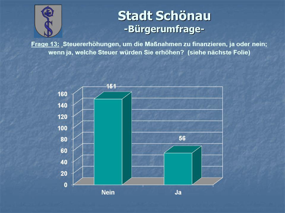 Stadt Schönau -Bürgerumfrage- Frage 13: Steuererhöhungen, um die Maßnahmen zu finanzieren, ja oder nein; wenn ja, welche Steuer würden Sie erhöhen? (s
