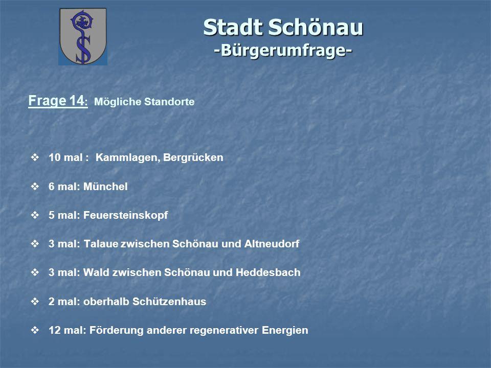 Stadt Schönau -Bürgerumfrage- Frage 14 : Mögliche Standorte 10 mal : Kammlagen, Bergrücken 6 mal: Münchel 5 mal: Feuersteinskopf 3 mal: Talaue zwische