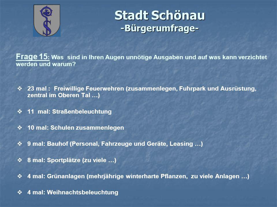 Stadt Schönau -Bürgerumfrage- Frage 15 : Was sind in Ihren Augen unnötige Ausgaben und auf was kann verzichtet werden und warum? 23 mal : Freiwillige