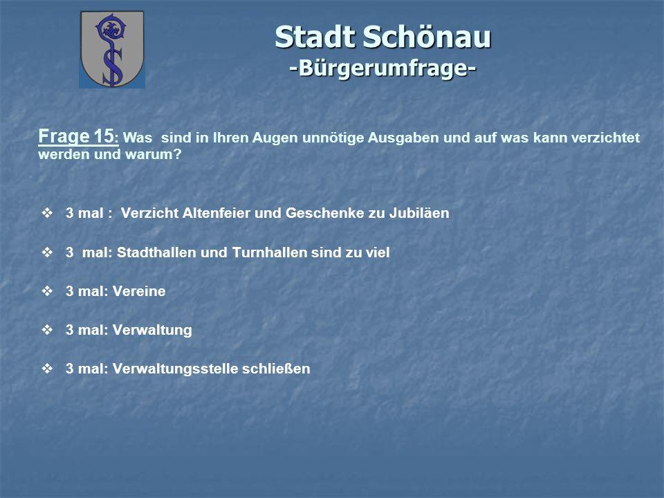 Stadt Schönau -Bürgerumfrage- Frage 15 : Was sind in Ihren Augen unnötige Ausgaben und auf was kann verzichtet werden und warum? 3 mal : Verzicht Alte