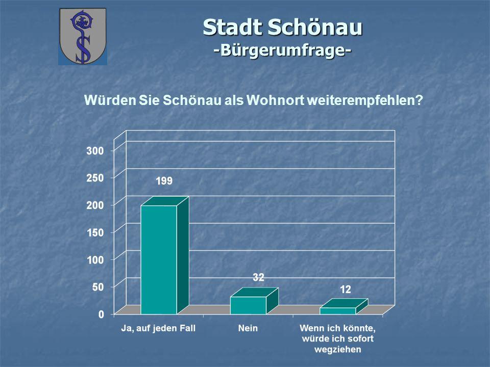 Stadt Schönau -Bürgerumfrage- Würden Sie Schönau als Wohnort weiterempfehlen