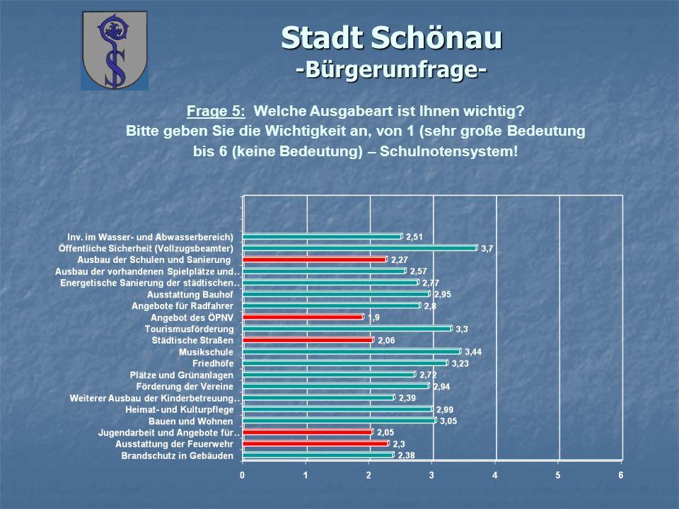 Stadt Schönau -Bürgerumfrage- Frage 5: Welche Ausgabeart ist Ihnen wichtig? Bitte geben Sie die Wichtigkeit an, von 1 (sehr große Bedeutung bis 6 (kei