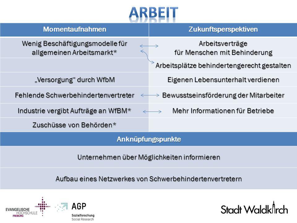 MomentaufnahmenZukunftsperspektiven Wenig Beschäftigungsmodelle für allgemeinen Arbeitsmarkt* Arbeitsverträge für Menschen mit Behinderung Arbeitsplät