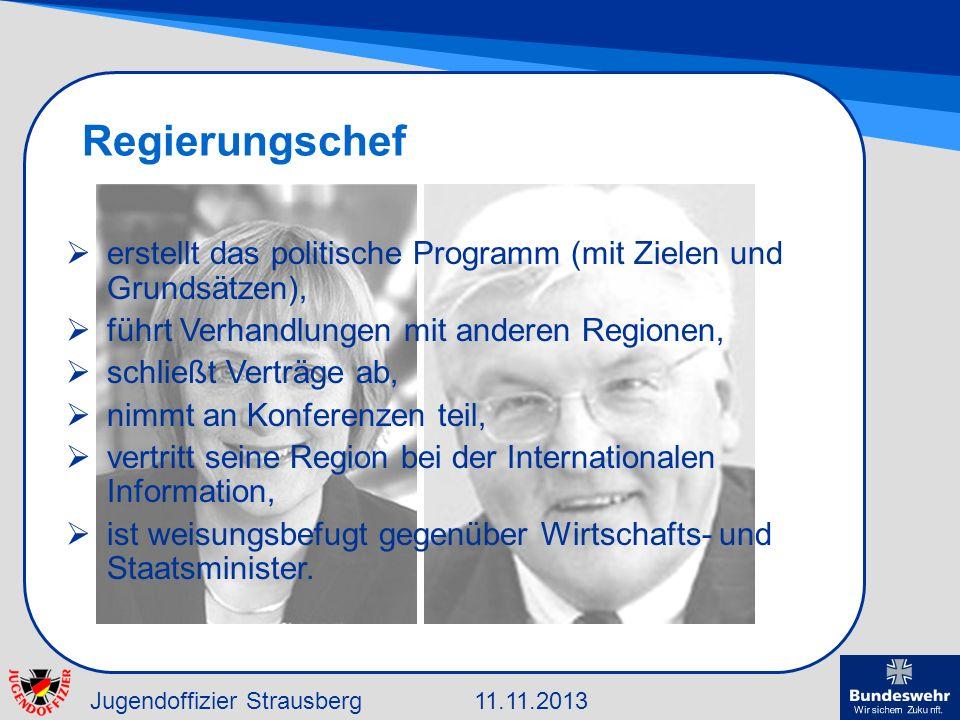 Jugendoffizier Strausberg11.11.2013 Regierungschef erstellt das politische Programm (mit Zielen und Grundsätzen), führt Verhandlungen mit anderen Regi