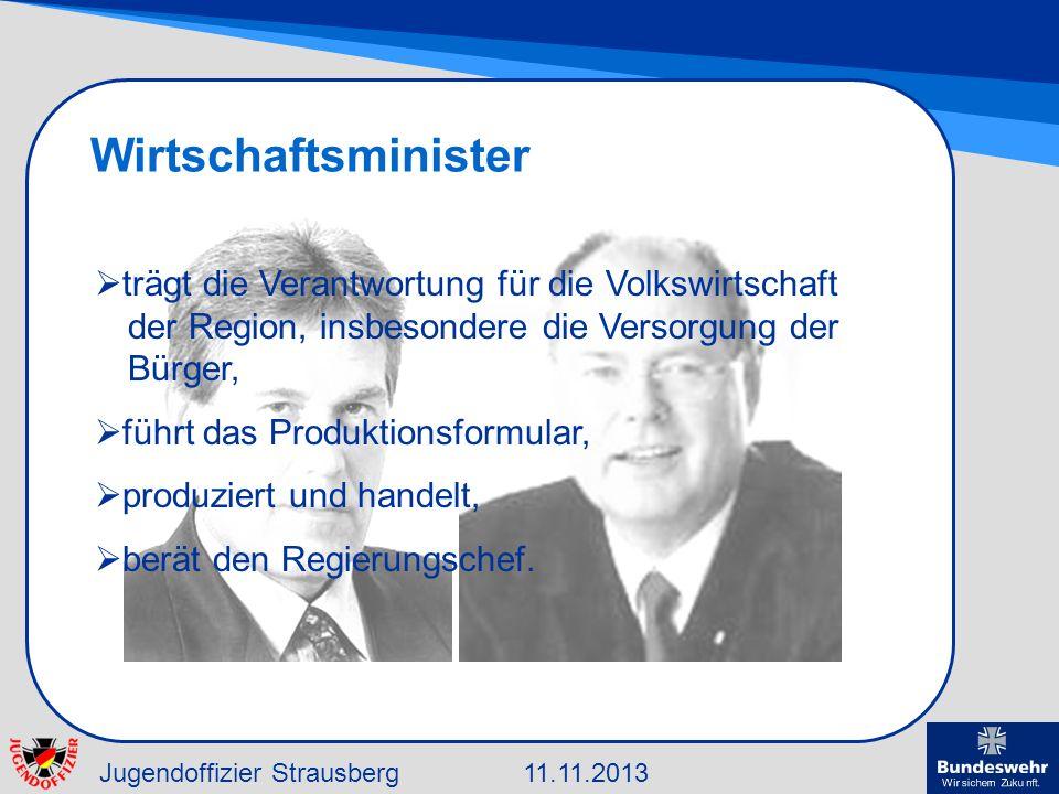 Jugendoffizier Strausberg11.11.2013 Wirtschaftsminister trägt die Verantwortung für die Volkswirtschaft der Region, insbesondere die Versorgung der Bü