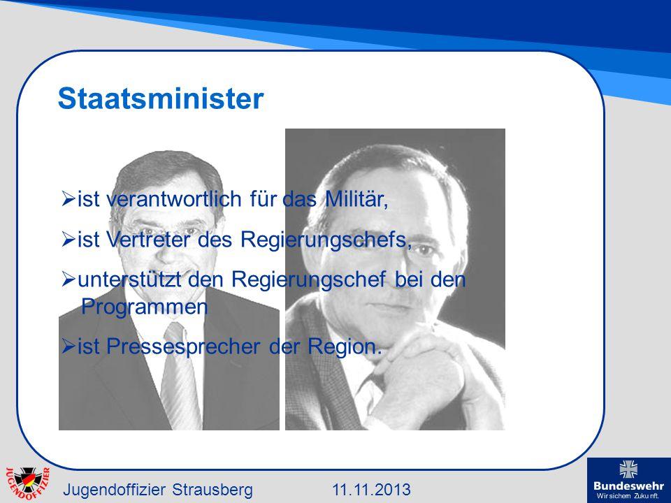 Jugendoffizier Strausberg11.11.2013 Staatsminister ist verantwortlich für das Militär, ist Vertreter des Regierungschefs, unterstützt den Regierungsch