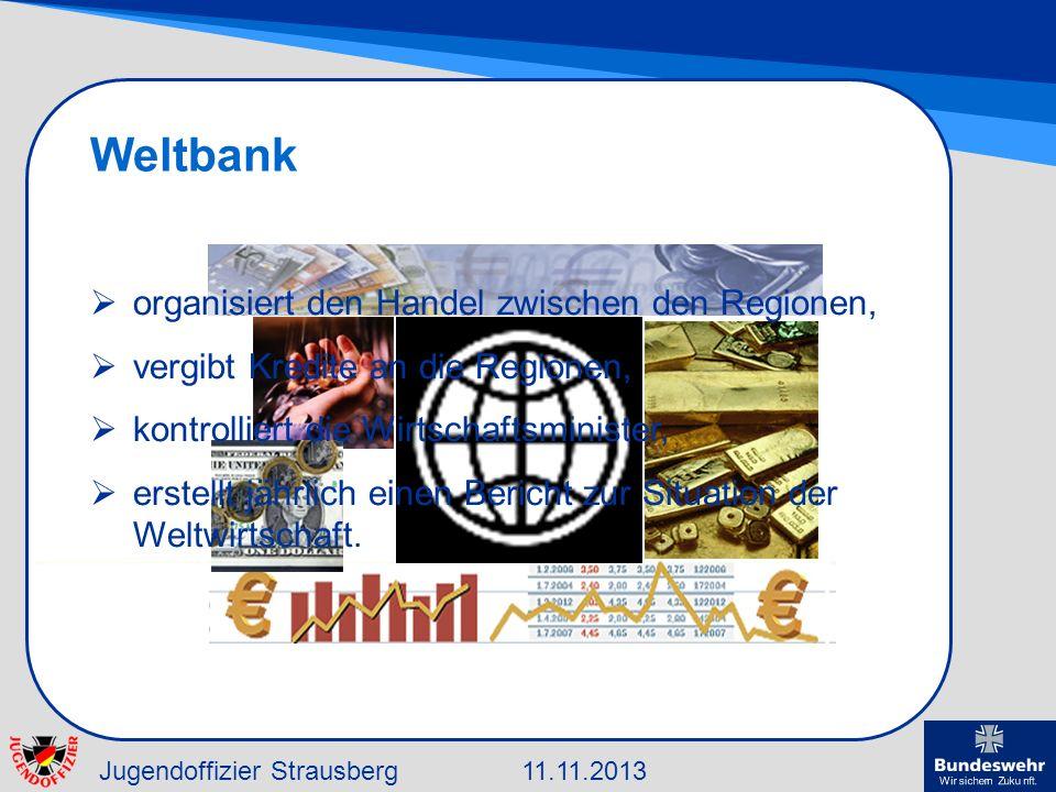Jugendoffizier Strausberg11.11.2013 Weltbank organisiert den Handel zwischen den Regionen, vergibt Kredite an die Regionen, kontrolliert die Wirtschaf