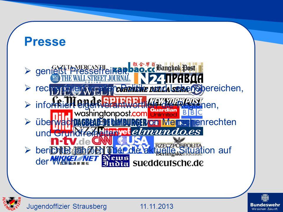 Jugendoffizier Strausberg11.11.2013 Presse genießt Pressefreiheit, recherchiert in allen Politik- und Lebensbereichen, informiert eigenverantwortlich