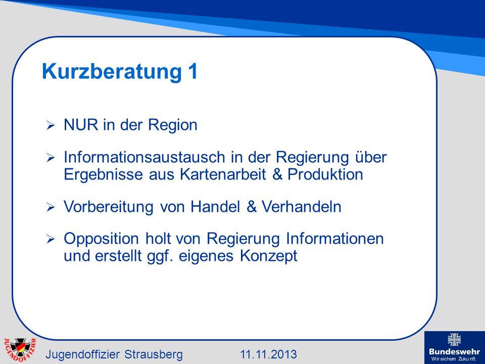 Jugendoffizier Strausberg11.11.2013 Kurzberatung 1 NUR in der Region Informationsaustausch in der Regierung über Ergebnisse aus Kartenarbeit & Produkt